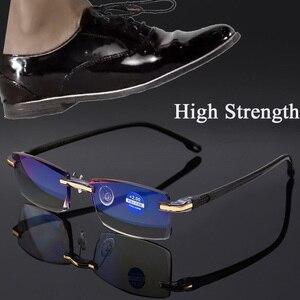2020 High Strength Reading Glasses Men Anti Blue Light Portable Rimless Women Presbyopic Bifocal Glasses TR90 Gafas +1.0 To +4.0