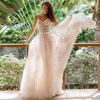 Liyuke 2019 A line Light Wedding Dress Sweet Lace Appliques Scalloped Neck Spaghetti Straps Back Button Customized Floor Length
