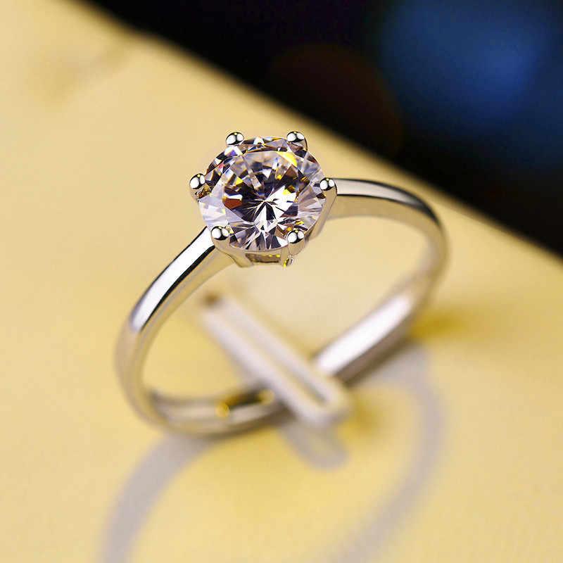 高級女性の結晶ジルコン石リングシルバーカラーソリティアリング結婚指輪の約束愛の婚約指輪女性のための