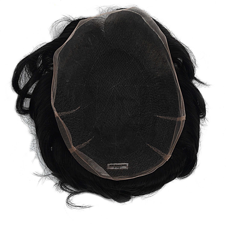 Mw Mannen Zwitserse Kant Toupetje Pruik Remy Menselijk Haar Stukken Natuurlijke Zwart 6 Inches 150% Dichtheid Topper Pruiken Fedex Snelle levering
