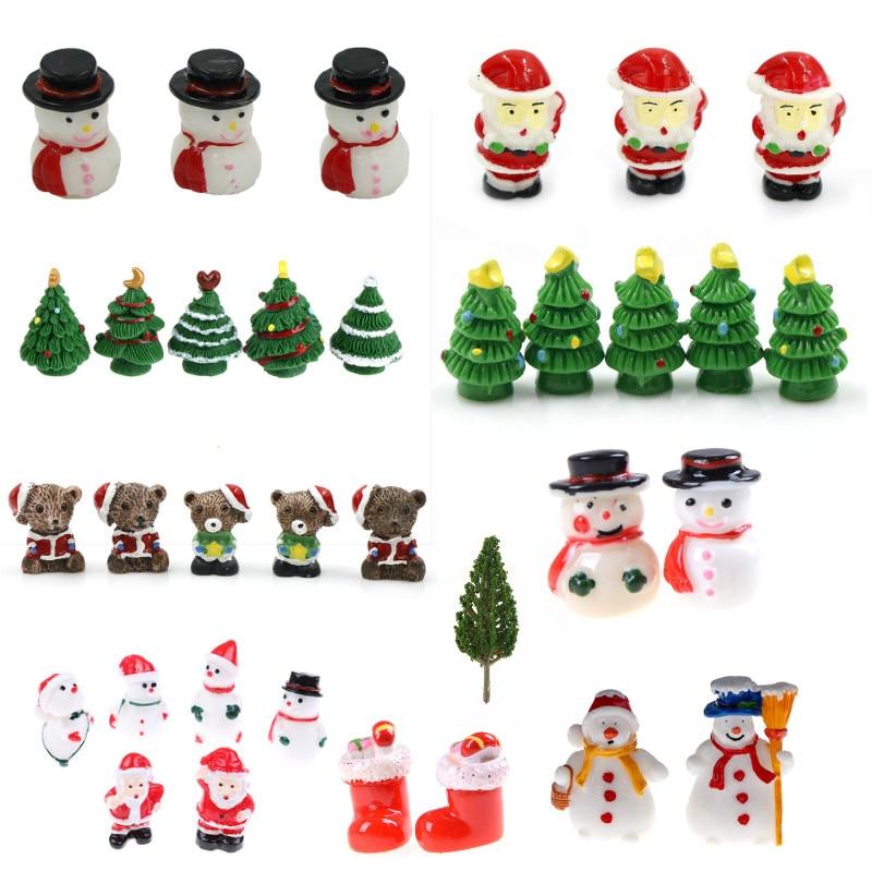 Miniature Christmas Snowman Figurine Home Decoration Fairy Garden Cartoon Animals Statue Bonsai Ornaments Resin Craft Gift