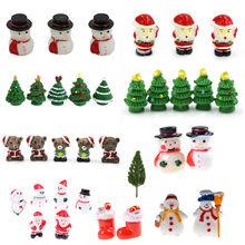 Miniatur Weihnachten Schneemann Figur Startseite Dekoration Fee Garten Cartoon Tiere Statue Bonsai Ornamente Harz Handwerk Geschenk