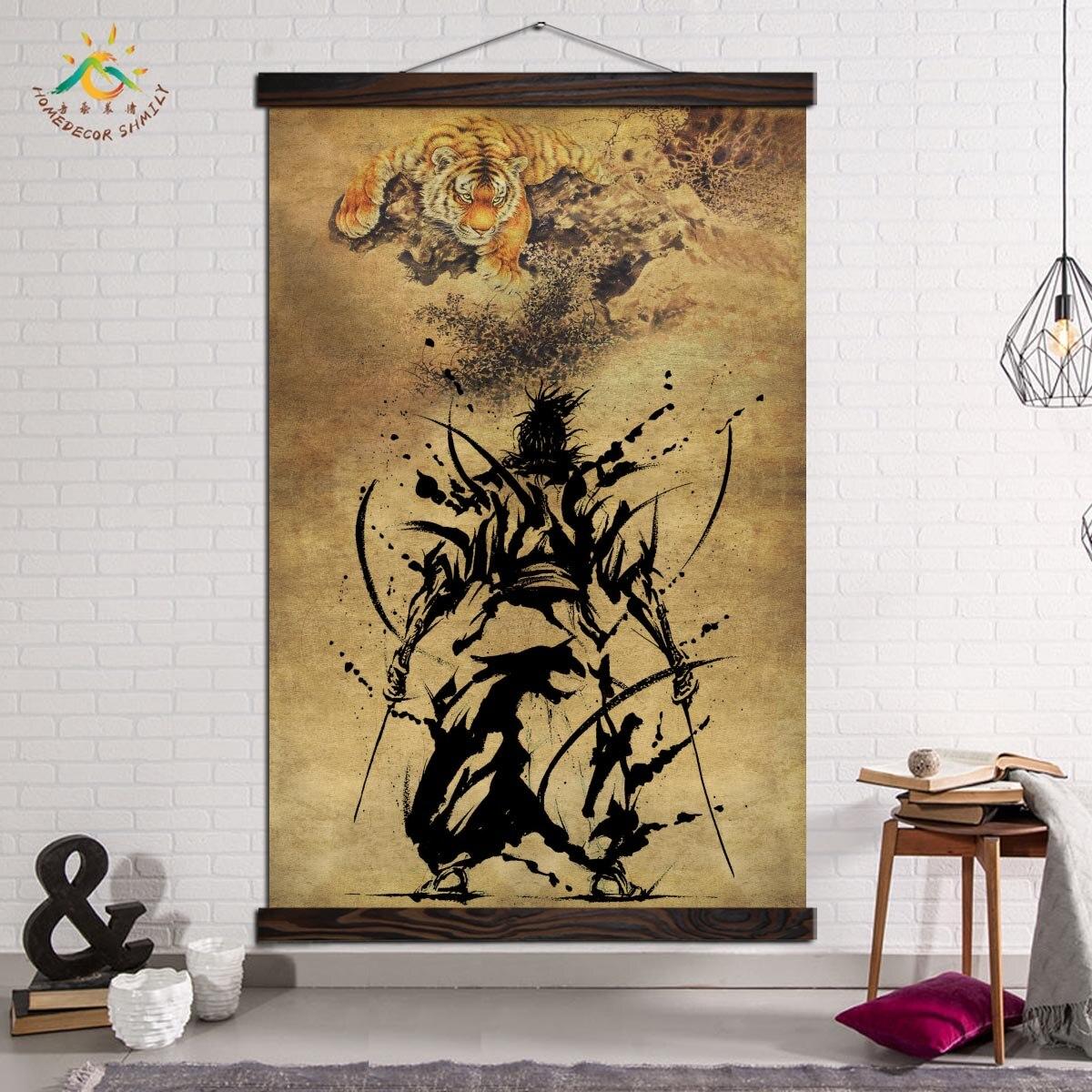 Japanese Swordsman Ancient Tiger Posters And Prints Wall Art