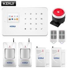 متخصصة Kerui G18 المدمج في هوائي إنذار PIR الحركة كاشف دخان لاسلكي فلاش صفارة الإنذار LCD GSM سيم بطاقة البيت الأمن نظام إنذار