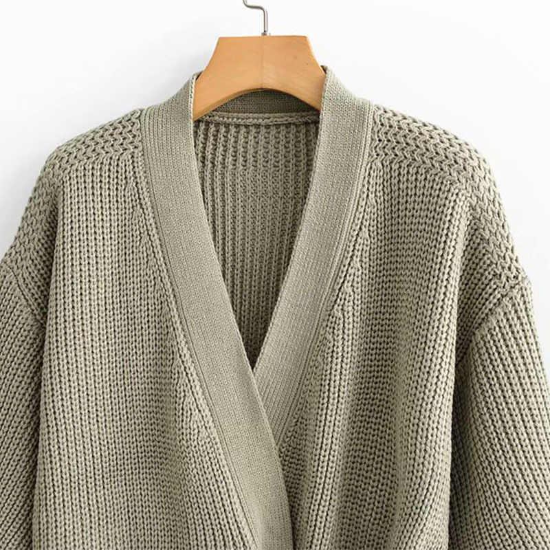 V คอเสื้อกันหนาวถักเสื้อสเวตเตอร์ถักเสื้อผู้หญิงลำลองลูกไม้ขึ้นสั้นยืดหยุ่น Twist เสื้อกันหนาวหญิงหลวมเปิด Stitch Coats
