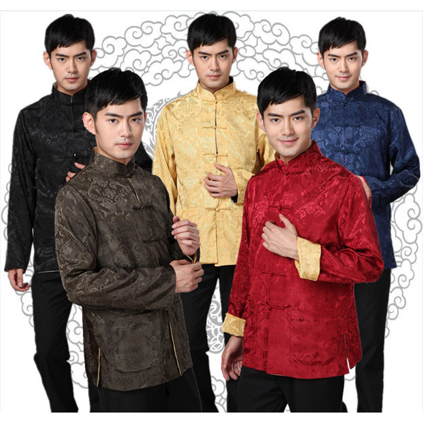 Chinese Traditional Costumes Men Shirt Wedding Party Wear Chinese New Year Kungfu Clothing Full Sleeve Both Sides Shirt