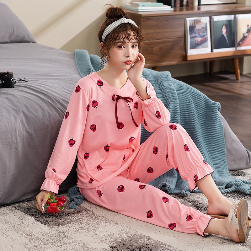 SOURCE Pajamas Women's Spring Sunken Stripe Double-Sided Qmilch Set Home Wear