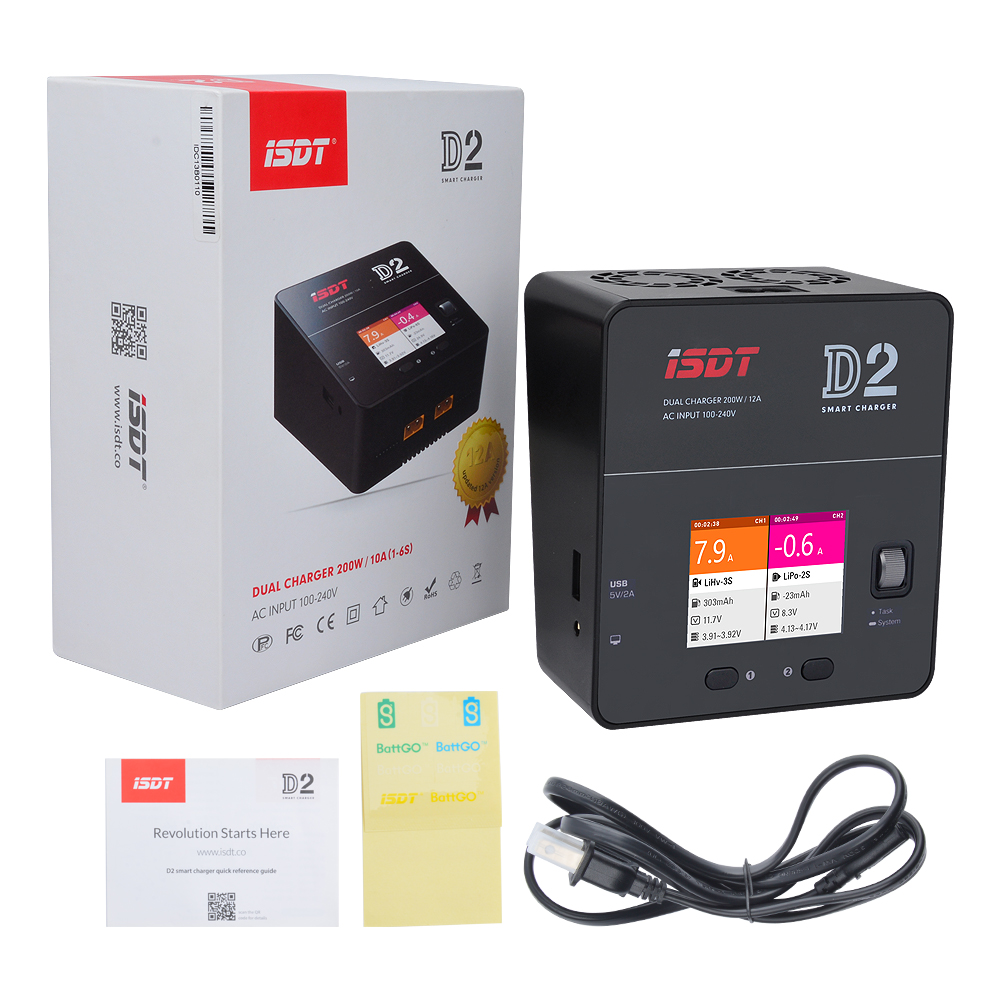 ISDT D2 Dual 200W 12A BattGo Smart Battery Balance Charger For RC Car Airplane Helicopter 2-6S Lipo LiHv LiFe AC 100-240V