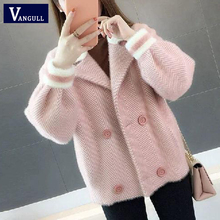 Vangull Winter Women Striped Jackets Double Breasted Lantern Sleeve Thick Cardig