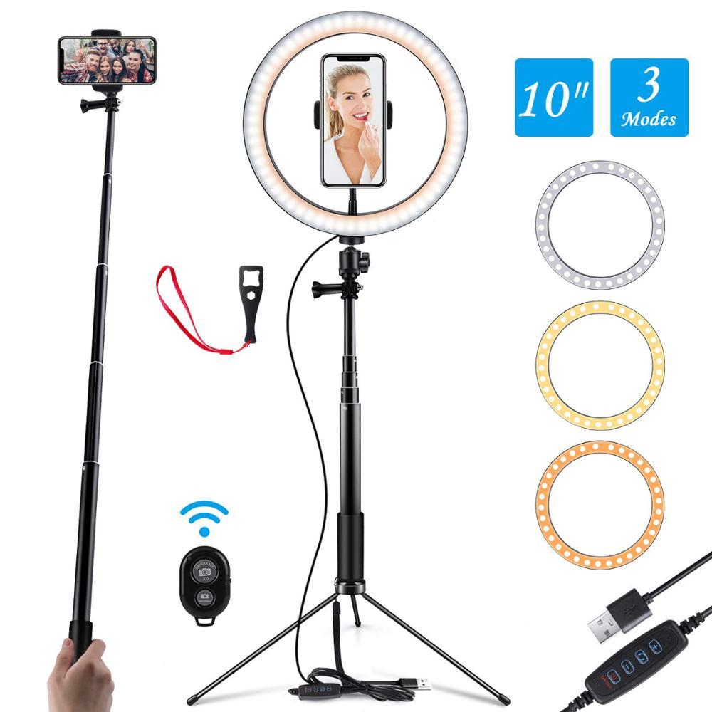 10 Polegada LED Fotografia Luz Tripé Lâmpada Anel de Vídeo Do Youtube Ao Vivo Estúdio Foto Selfie Vara Compõem Luz Com Telefone titular USB