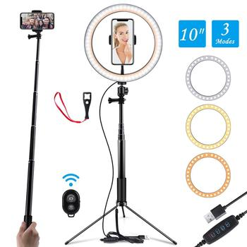 10 pollici Foto LED Selfie Anello di Luce Treppiede Anello di Luce A LED Per Il Telefono Youtube Video Macchina Fotografica Studio Make Up Lampada con USB Lampada Anello 1