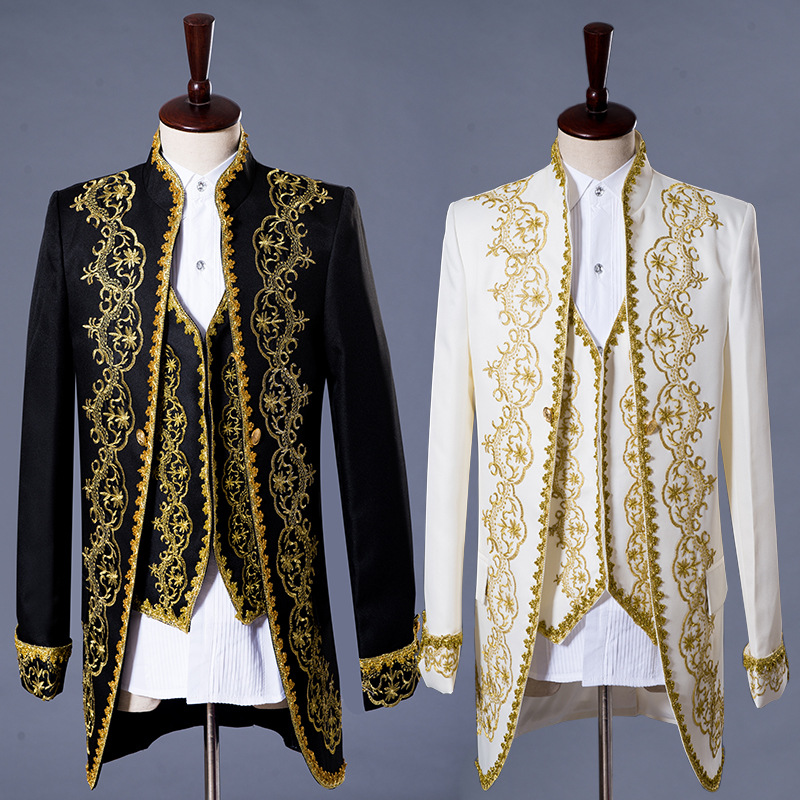 Mens Classic Gold Jacket Three Piece Embroidery Palace Stage Singer Wedding Suits Latest Coat Pant Designs Costume Homme Tuxedo