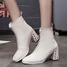 2019 New White Boots Women Fashion Autumn Sexy High Heels Ladies Elegant Soft Leather Zip Black