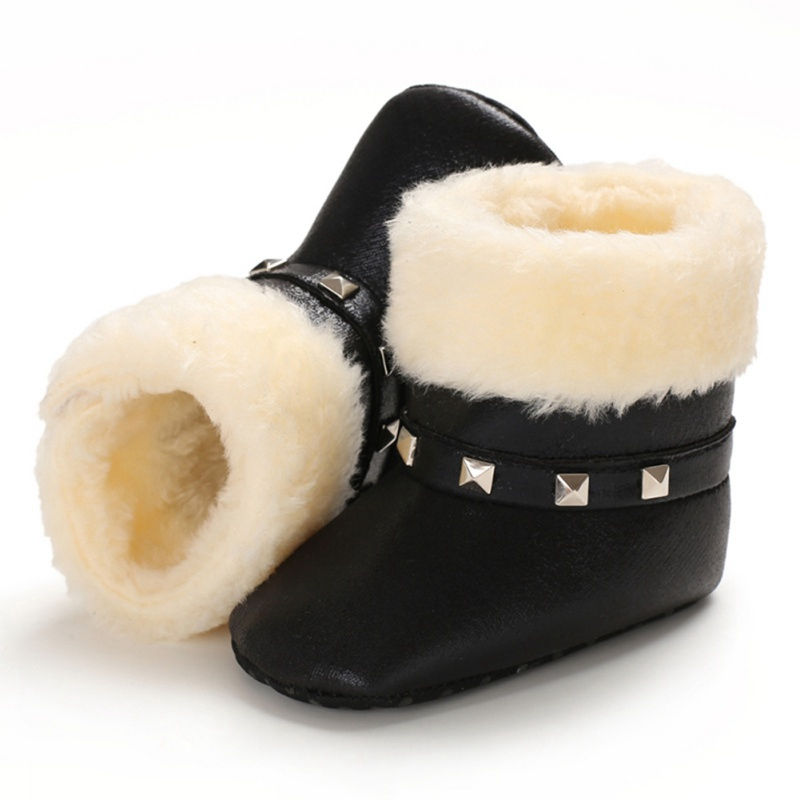 Winter Warm Baby Girls Soft Booties Plush Anti Slip Snow Boots Shoes PU Leather Flat Non-slip Cute Toddler Baby Shoes 0-18M