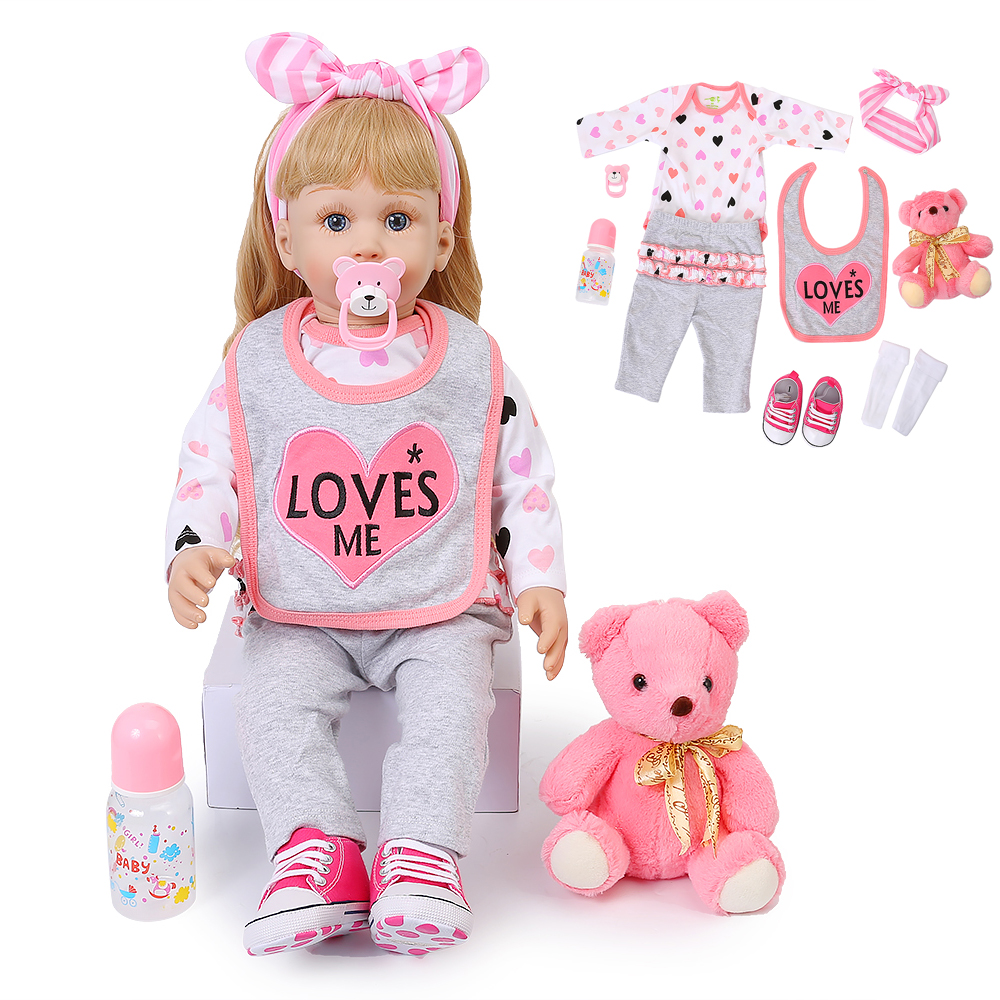 60CM Realistic Reborn Baby Dolls Long Gold Curls Princess Baby Doll Silicone Soft Lifelike Reborn Babies Playmate Birthday Gift