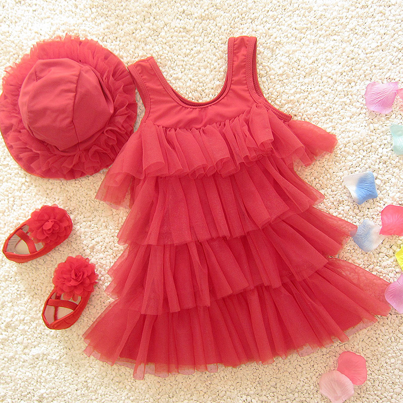 Medium And Small Children Korean-style Cute Sweet Skirt Split Type Baby Girls Hot Springs Princess Catwalks Swimming Suit