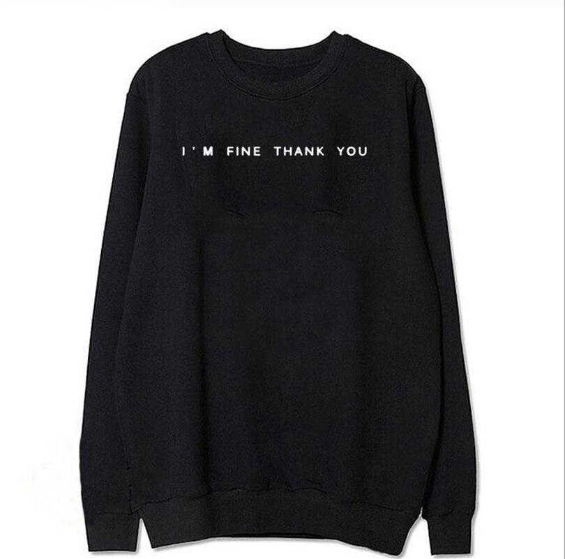 I'm Fine Thank You Hoodies Sweatshirts EuropeTops 2020 Women Casual Kawaii Fashion Kpop Sweat Punk For Girls Clothing Korean