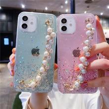 For iPhone 12 Pro Max 11 Glitter Pearl Chain Wrist Strap Phone Case For iPhone 7 8 Plus 12 Mini XS Max X XR SE 2020 11 Pro Coque