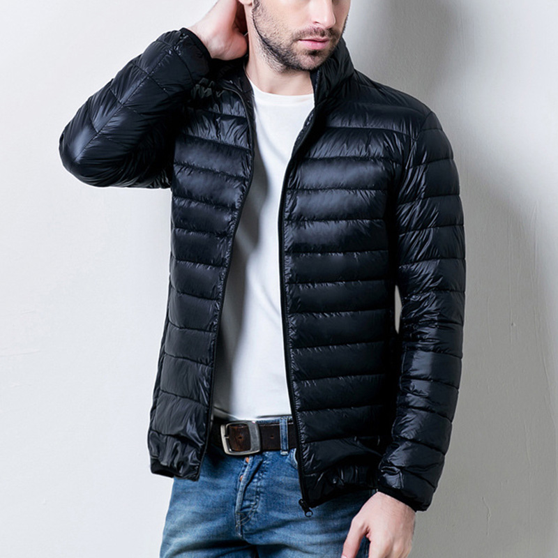 2019 Fashion Men Winter Warm Coat Duck Down Jacket Packable Puffer Outwear Zipper Stand Collar  White Duck Down Slim Fit Coat