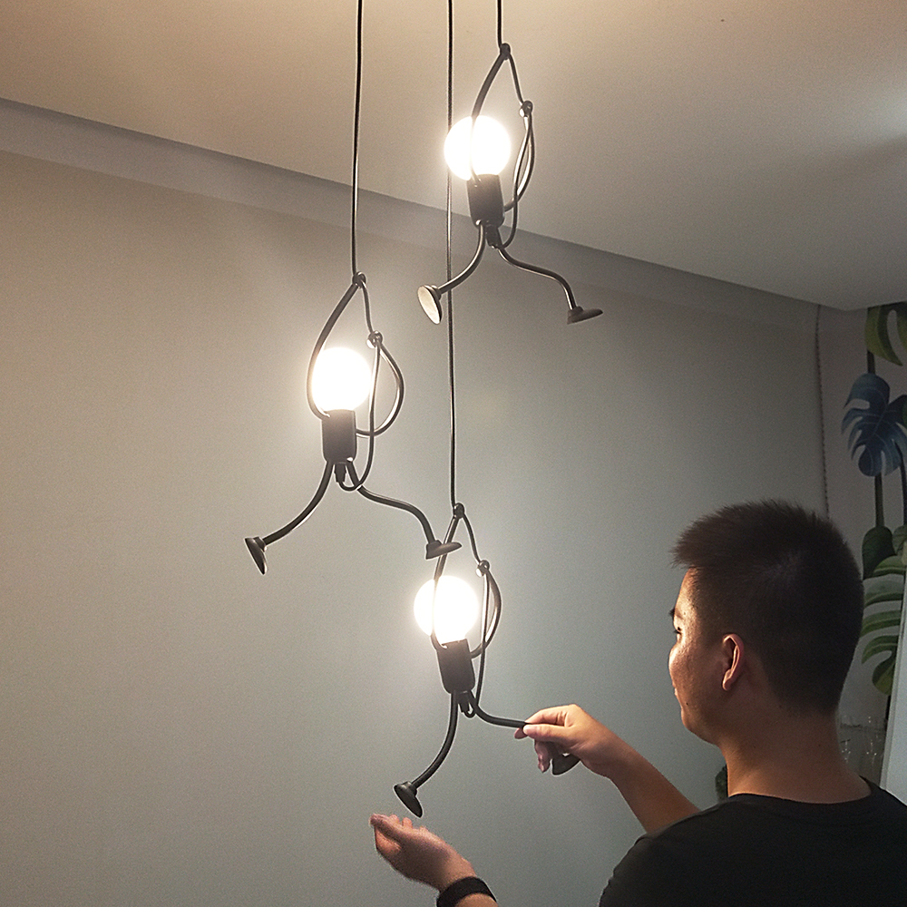 Creative little man climbing pendant lamp for children room pendant light metal cord pendant lamps Art decoration Pendant Lights