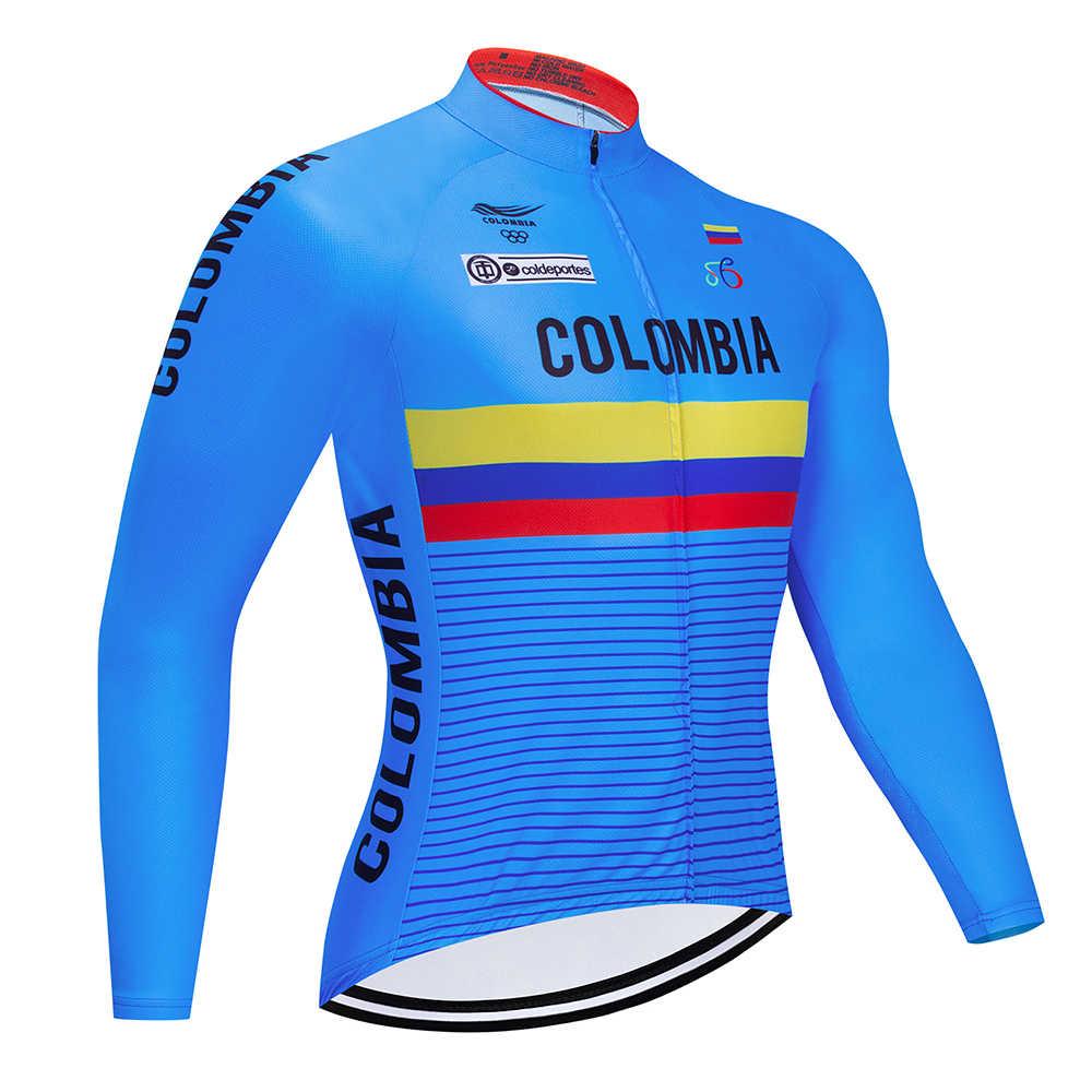 2019 blau Kolumbien Pro Radfahren Jersey Fahrrad Sportswear Kleidung MTB Kleidung Langarm Radfahren Kleidung Ropa De Ciclismo