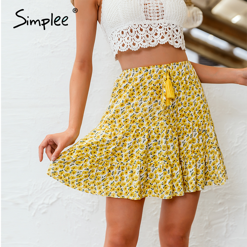 Simplee Lace Up Floral Print Skirt Women Bohemian High Waist A-line Female Mini Skirts Spring Summer Holiday Ladies Skirts 2020