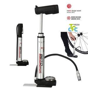 Портативный велосипедный насос Beto, комбинированный насос из сплава с манометром 160psi, совместимый с Presta Schrader, MTB, дорожный велосипедный насос