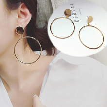 Fashion Personality Round Korean Earrings 2020 Simple Geometric Exaggerated Temperament Gold Color Drop Earrings For Women new korean fashion earrings simple gold geometric wave temperament pearl pendant wholesale trendy earrings
