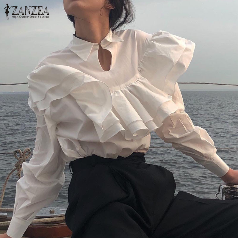 Stylish Women Ruffles Blouse ZANZEA Spring Long Sleeve Flounce Shirt Office Lady Soild Tops Casual Lapel Neck Blusas Femininas 7