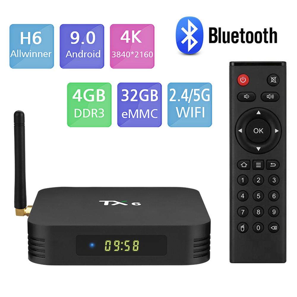 Android 9.0 TV Box,Pendoo TX6 Android TV Box 4GB DDR3 32GB EMMC Dual WiFi 2.4G+5G Bluetooth Quad Core 3D 4K Ultra HD H.265 USB