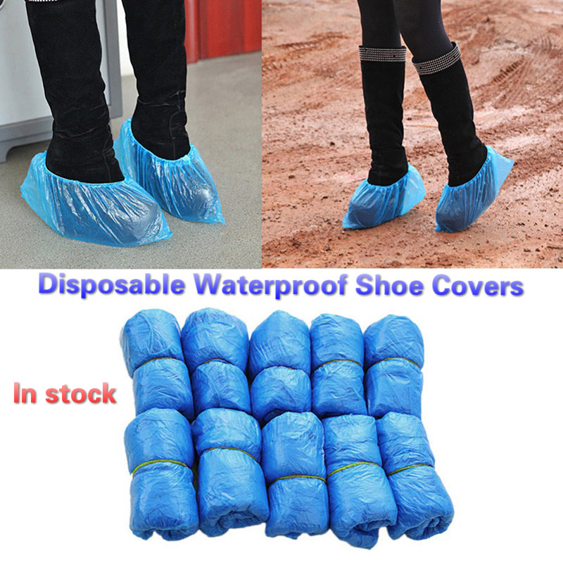 500pcs Disposable Plastic Shoe Covers Waterproof Boot Covers Hospitality Lab Cleaning Tool Cycling Prevent Wet Shoes