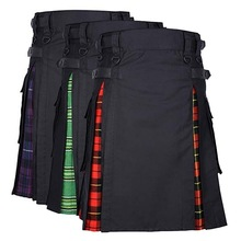 Scottish Mens Kilt Skirt Pants Belt Pleated Bilateral Plaid Punk Avant Garde Men Tartan Trousers Skirts 2019
