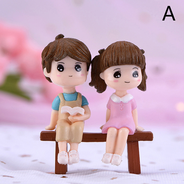 1/2Pieces Sweety Lovers Couple Chair Figurines Miniatures Fairy Garden Gnome Moss Terrariums Resin Crafts Home Decoration 5