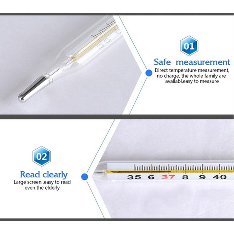 Body Temperature Measurement Device Armpit Glass Mercury Thermometer Home Health Care Product Large Size Screen 5