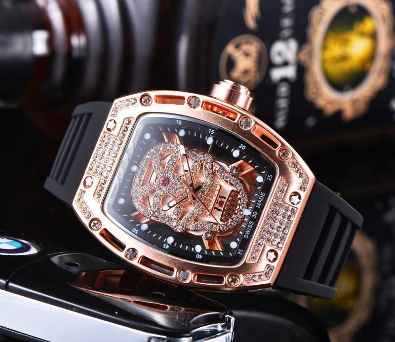 Limited Edition Skull Skeleton Watch Richard  New Top Brand Watches DZ Mille Men Quartz Wristwatches Male Waterproof Clock Gift