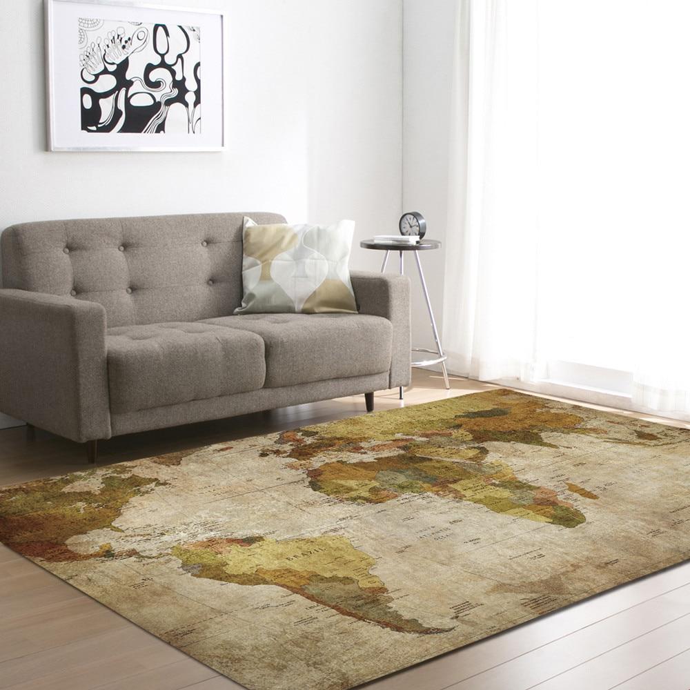 Vintage World Map Printed Carpet Geometry Moroccan Ethnic Style Bedroom Area Rug Creative Europe Type 3D Printing Hallway Carpet