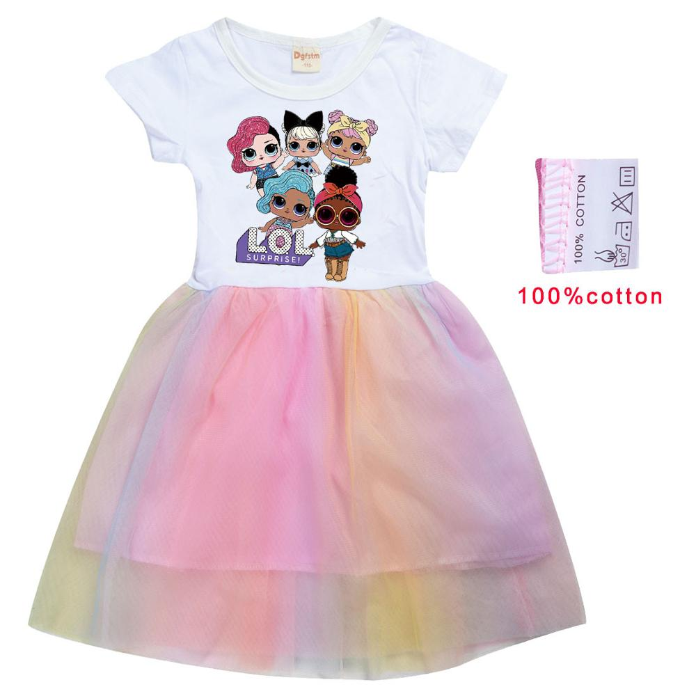LoL Surprise Summer Girl Kid T Shirt Colour Gauze Pleated Princess Patchwork Dress Cute Cartoon Printed Doll Baby Child Clothes 6