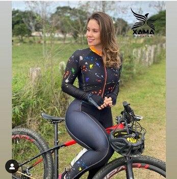 2020 manga longa das mulheres pro equipe triathlon terno ciclismo camisa skinsuit macacão maillot ciclismo ropa ciclismo conjunto rosa gel 1