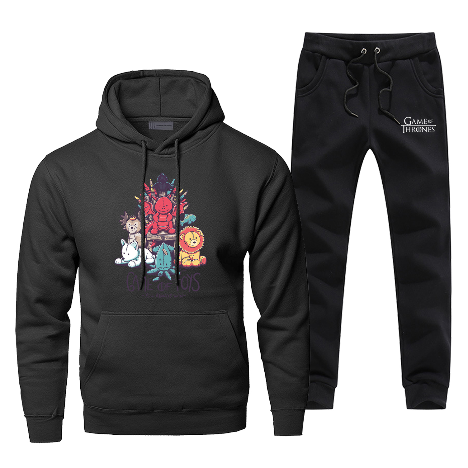 Funny Game Of Thrones Toys Hoodies+pants 2Piece Sets Fashion Cartoon Creative Design Sweatshirt Men Fleece Sportswear Sweatpants