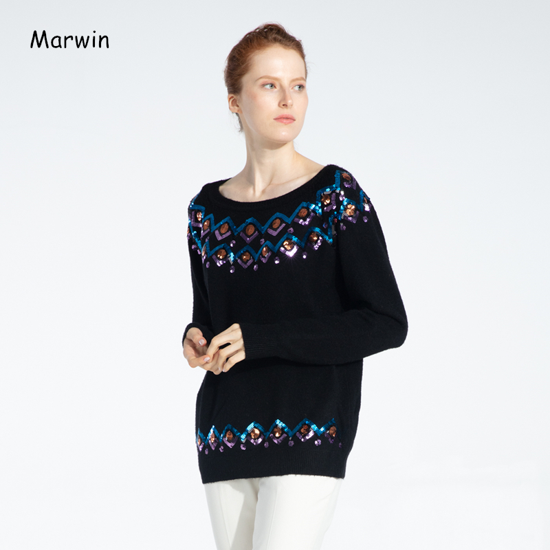 Marwin 2019 New-Coming Winter Solid Appliques Thick Women Sweaters High Street Style Soft Worm Knitted Female Pullovers