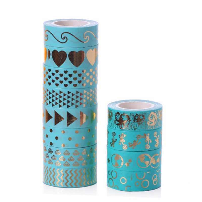 Semplice Decorativo Washi Nastro Adesivo per il FAI DA TE Artigianato e Da Regalo Oro Shinning Ufficio Colla