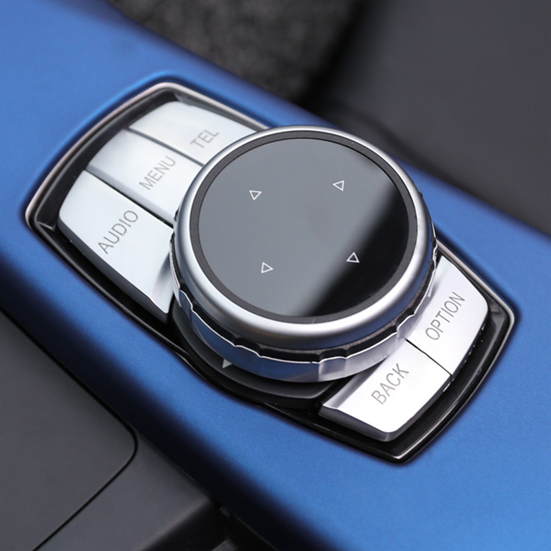 Universal Car Multimedia Knob & Buttons Covers IDrive Stickers DIY Decoration Accessories For BMW 1 2 3 5 7 Series X1 X3 X5 X6