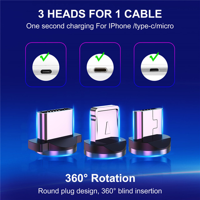 GTWIN Magnetic Cable Micro USB Type C Charger For iPhone Samsung Xiaomi 3M Magnet USB Cable Fast Charging Phone Charge Cord Wire 2