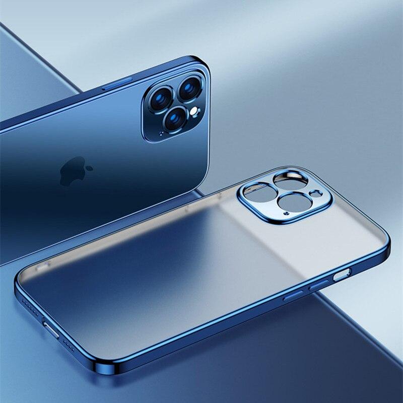 Luxus Platz Rahmen Plating Klar Telefon Fall Für iPhone 12 11 Pro Max Mini X XR XS 7 8 Plus SE 2020 Transparent Silikon Abdeckung