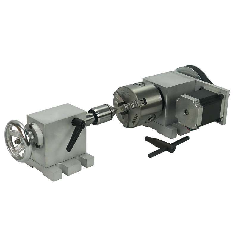 80mm Tailstock And Rotary A Axis  4th Axis For CNC Router Engraver Milling Machine