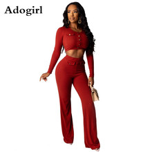 Adogirl Ribbed Knitting 2 Piece Set Long Sleeve O-Neck Pullover Tops + Casual Wide Leg Pants Female Botton Bodycon Suit