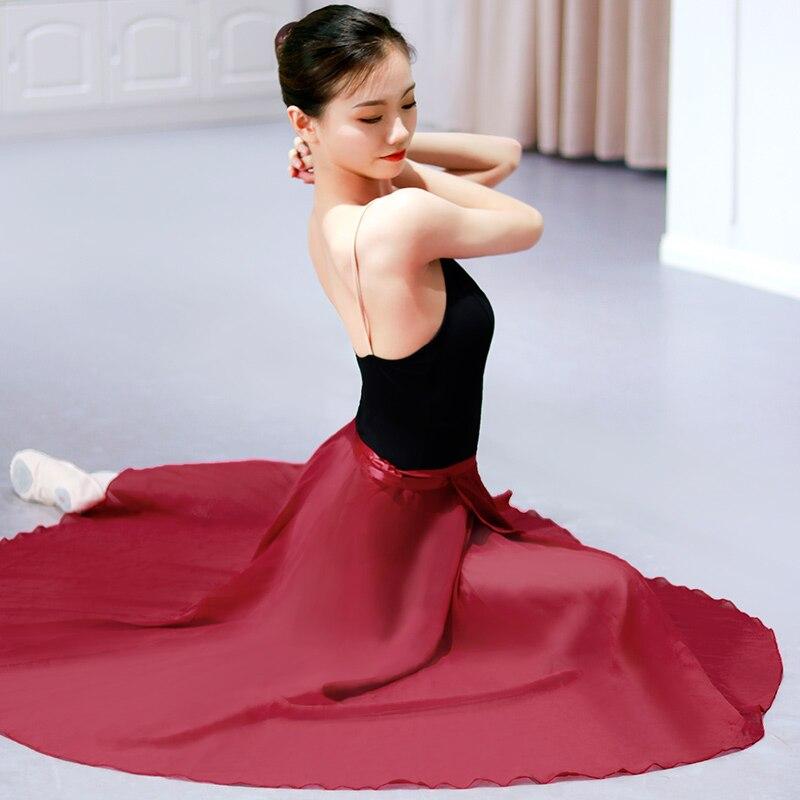 Adults Long Chiffon Ballet Skirts Women Lyrical Soft Ballet Dress Black Burgundy Dance Costumes