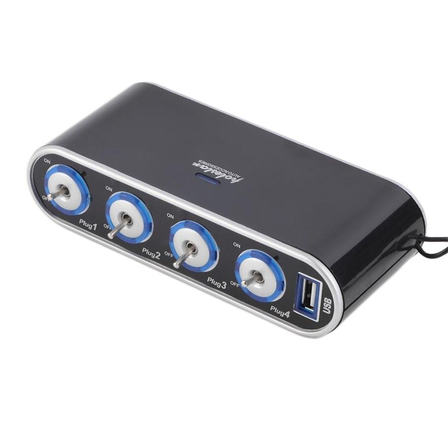 Hot Sale 4 Way Multi Socket Car Charger Vehicle Auto Car Cigarette Lighter Socket Splitter & Dual USB Ports Plug Adapter 12v 24v