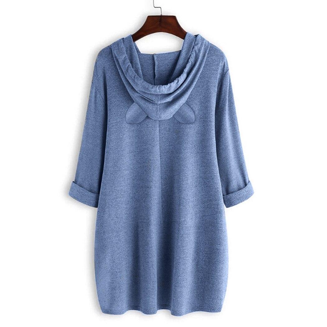 Leuke Kat Gedrukt Oversized Onregelmatige Hooded Jassen Vrouwen Streetwear Harajuku Lange Mouwen Midi Hoodies Vrouwelijke Sweatshirts Tops - 3