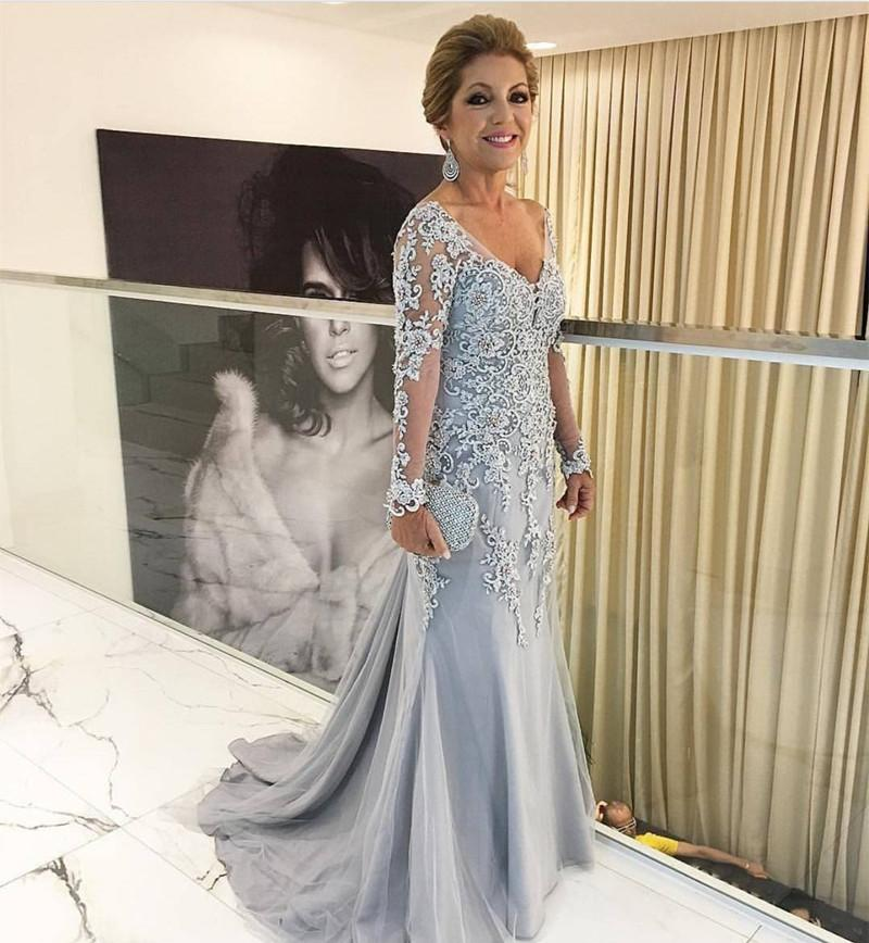 Silver Muslim   Evening     Dresses   2019 Mermaid V-neck Long Sleeves Appliques Beaded Long Dubai Saudi Arabic Long Formal   Evening   Gown